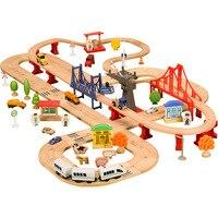 Деревянная игрушечная железная дорога литой автомобиль небольшой поезд двойной трек Строительство дороги поезд набор совместим с другими