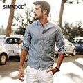 Simwood 2017 nueva primavera verano de manga larga camisas casuales hombres de algodón y tela de lino slim fit cs1567