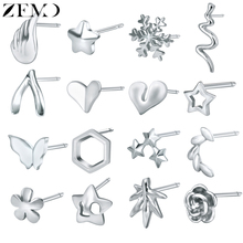 ZEMO Stud Earrings for Women Real 925 Sterling Silver Angle Wing Jewelry Flower Heart pendientes