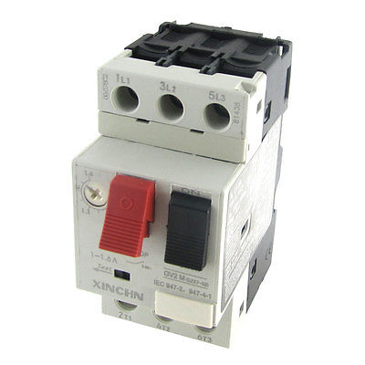 3P Motor Starter Circuit Breaker Protector 1-1.6A 690V New new ezd100e 3p 80a ezd100e3080n plastic breaker