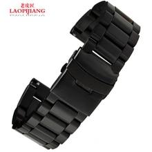 Laopijiang correa de cuero para reloj para hombre negro tira 22 / 24 / 26 mm reloj accesorios