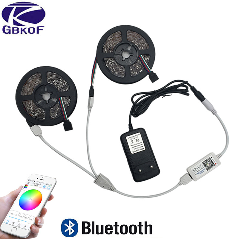 5m 10m RGB LED strip light 2835 SMD diode led ribbon tape waterproof Bluetooth WiFi 24Key controller DC12V Adapter Power Supply 10m 5m 3528 5050 rgb led strip light non waterproof led light 10m flexible rgb diode led tape set remote control power adapter