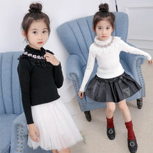 лучшая цена Sweater Girl 2019 Autumn Winter Long Sleeve Warm Spring Knitted Baby Girls Petals Collar Sweater Girls Pullover Top 3-13Y Girls