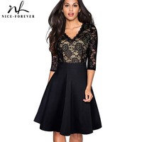 Nice Forever Vintage Black Flower Elegant Lace Ruffle Vestidos See Through Sleeve A Line Pinup Business