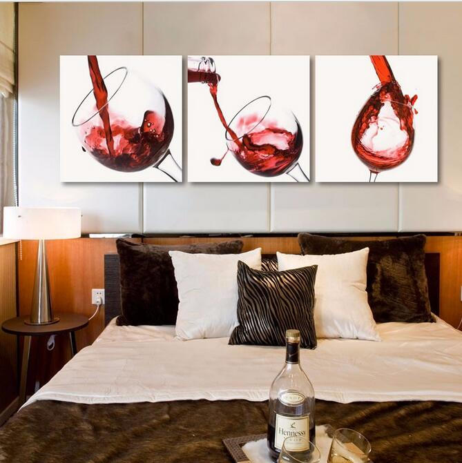 3 panel home decor wall hanging art picture glass red wine oil painting on canvas for
