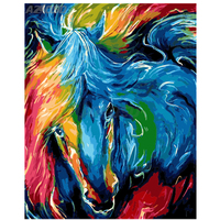 HOT DIY Digital Oil Painting On Canvas Handwork Unique Gift Colorful Horse 40x50cm Framed Pictures Painting