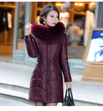 2017 New Leather Coats Whom Long Leather Coat Big Yards To Thicken The Fox Collars Winter Jackets Size