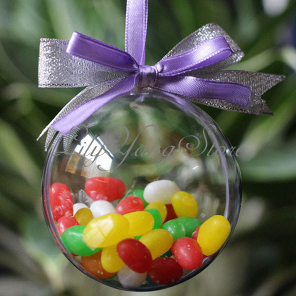 Outdoor hanging ornaments - 10cm Plastic Christmas Decorations Hanging Ball Bauble Candy Ornament Xmas Tree Outdoor Decor Clear Plastic Christmas