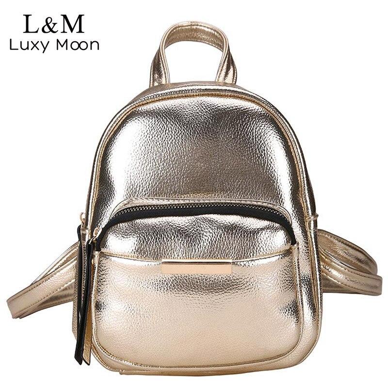 Luxy moon Glitter Backpack Women Retro Gold Bag Small Crack Backpacks Female Girls Rucksack Brand Travel Bags mochila XA455H