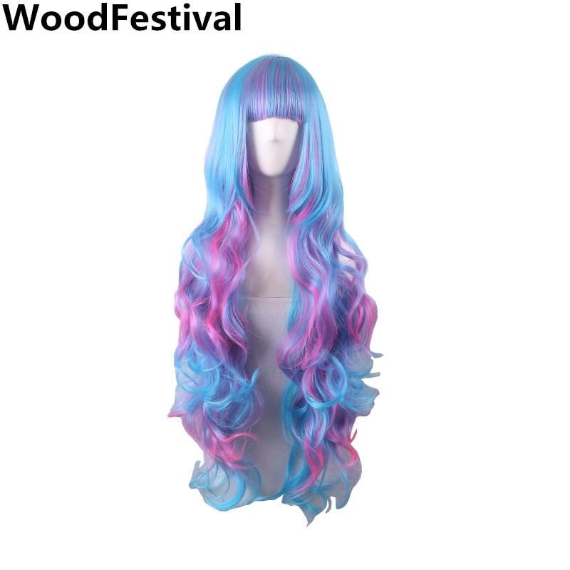 Colore misto parrucche donne resistenti al calore parrucca arcobaleno parrucca ondulate lunghe parrucche sintetiche con la frangetta parrucca multicolore multi colore WoodFestival