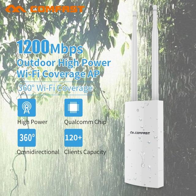 1200mbps Gigabit Poe Wireless Wifi Repeater 5.8Ghz High power Outdoor Waterproof Extender Wireless Wifi Router Antennas Wifi cov