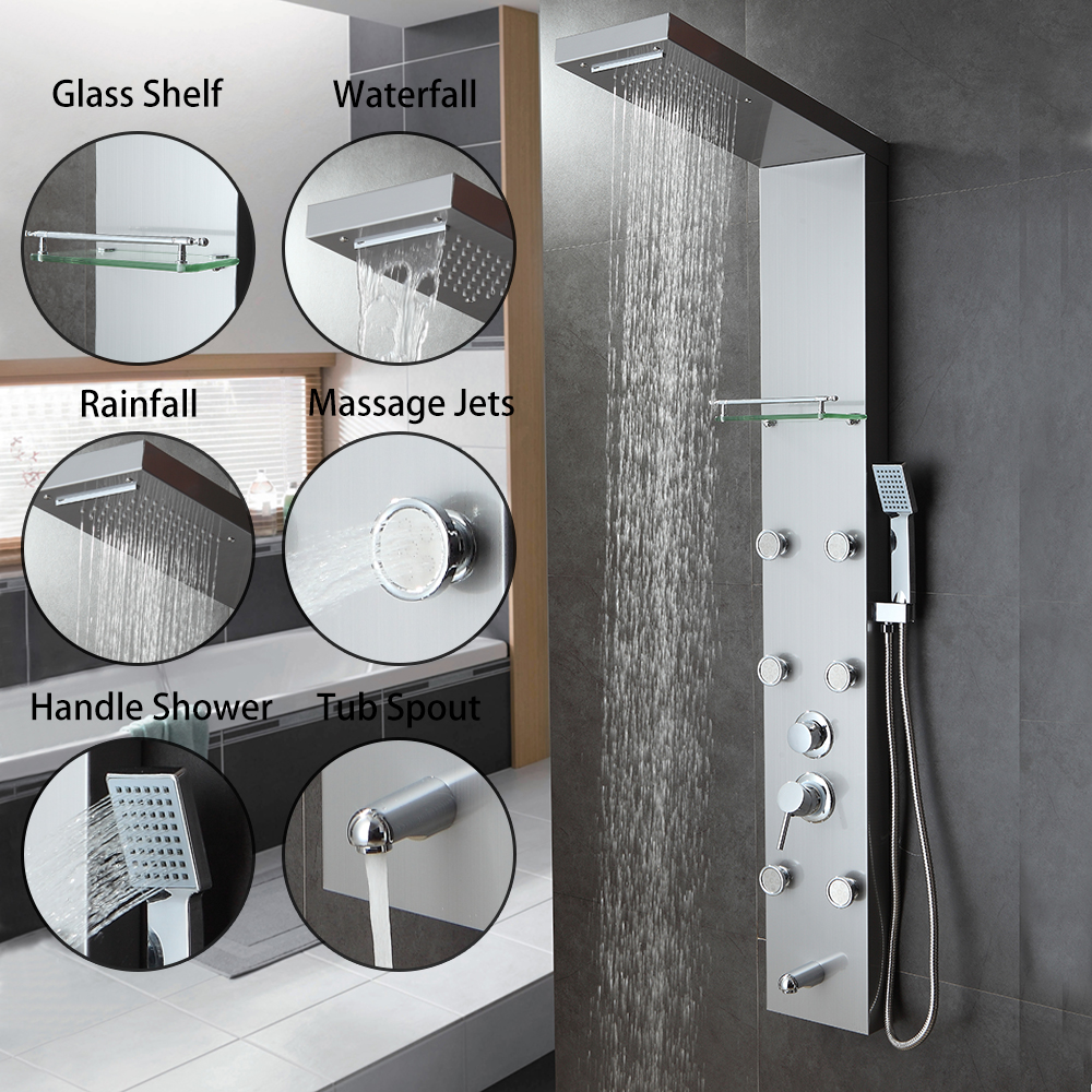 Brush Nickel Bathroom Shower Panel Rain Massage System Faucet with Jets & Hand Shower & Tub Spout Multi-Function Shower Faucet  ouboni new arrival bathroom rainfall shower panel rain massage system faucet with jets hand shower bathroom faucet tap mixer