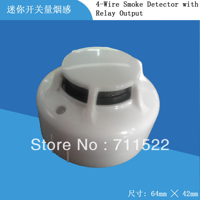 Customized Mini Smoke Alarm 4-wire Conventional Smoke Detector Non-coding  Detector With Relay Output