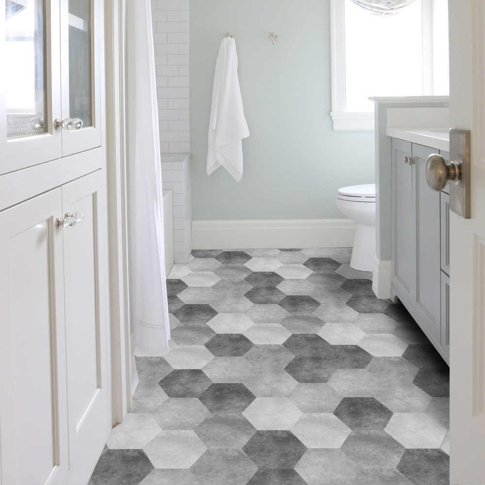 10 Pcs Hexagon Cement Black White and Gray Bathroom Ground Stickers Waterproof Wear-resistant Floor Sticker Wall Home Decoration