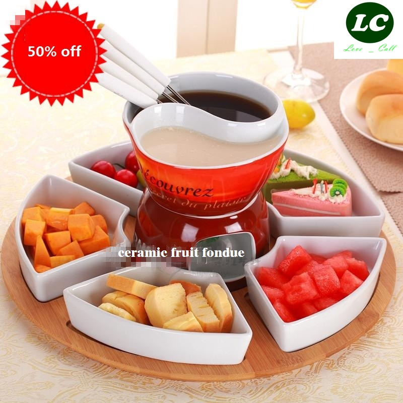 free shipping BBQ tool 2GRID fondue pot set Ceramic chocolate cooking pot icecream chafing dish cheese hotpot romance home
