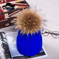 Brand New Warm Winter Collection Gorros Beanie Detachable Genuine Sable Fur Pom Poms Knitted Hats for Women