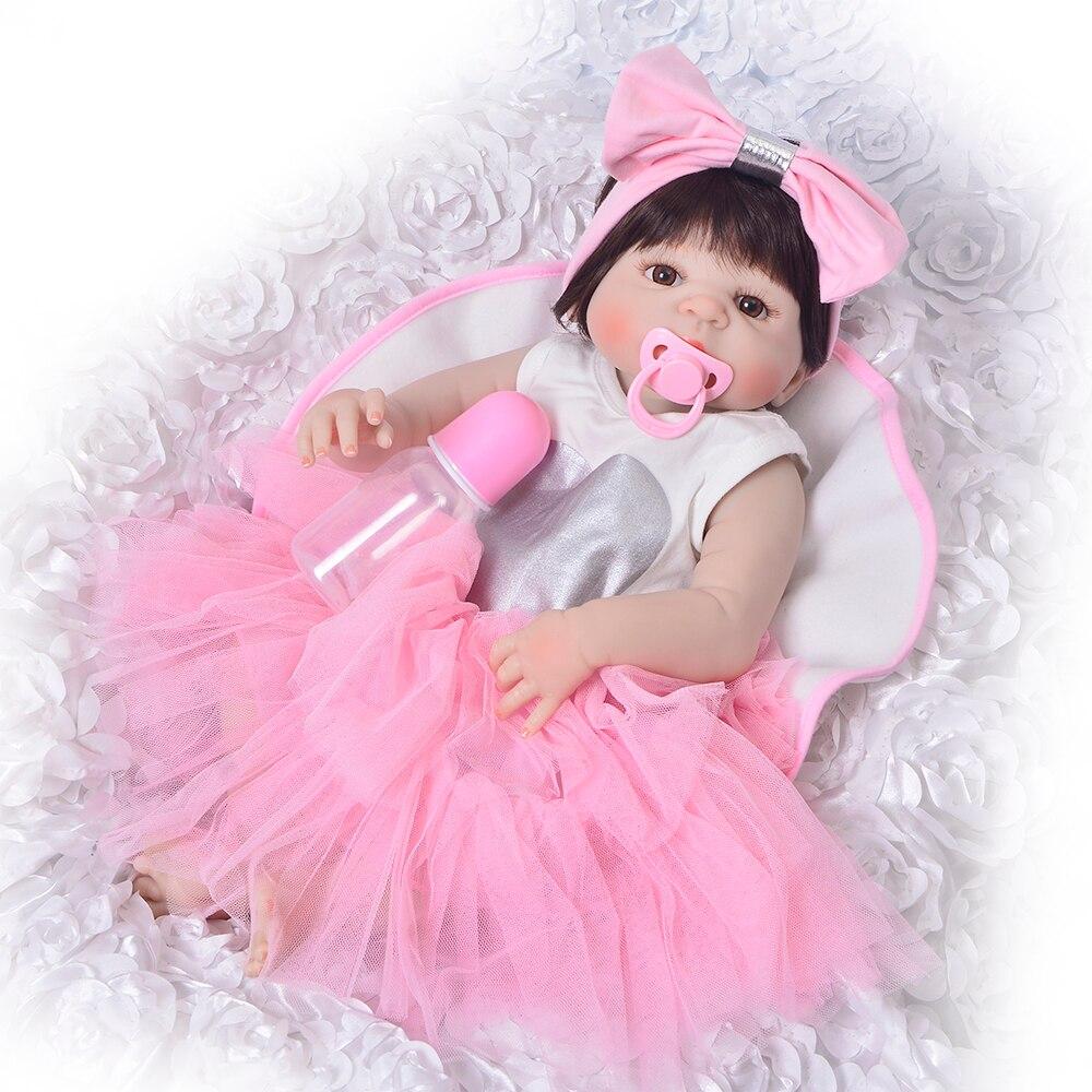 Charming 23 ''Reborn Baby Mädchen Puppe Neugeborenen Voller Silikon Vinyl Realistische Prinzessin Reborn Boneca Puppe Für Kinder Geburtstag Geschenke-in Puppen aus Spielzeug und Hobbys bei  Gruppe 1
