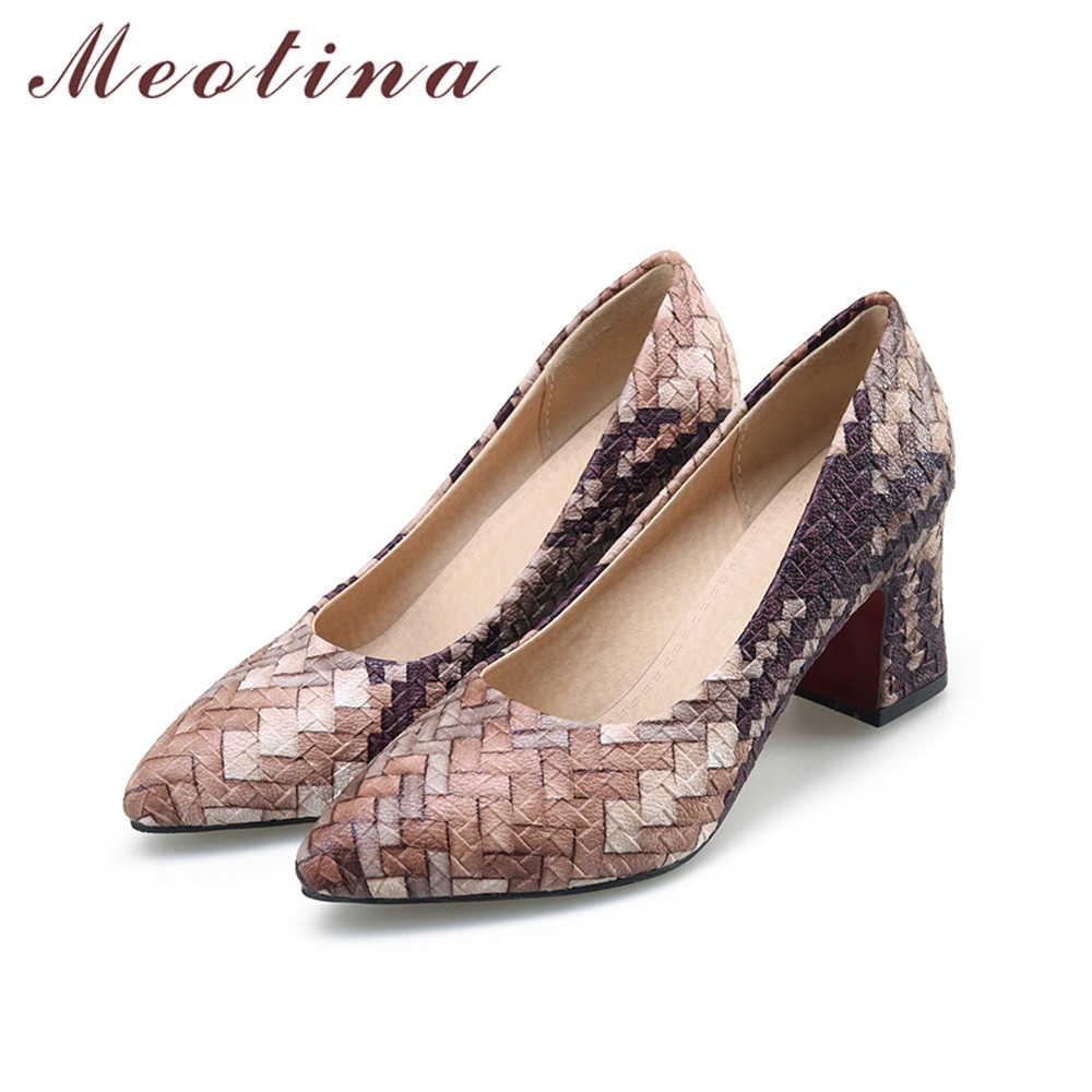 Meotina Kadın Kalın Topuk Pompaları kadın ayakkabısı Sivri Burun Yüksek Topuklu Pileli Renkli Bayanlar Ayakkabı 2018 Bahar Yeni Büyük Boy 33 -43