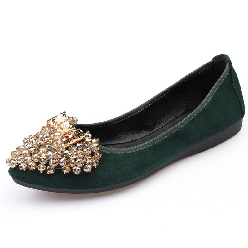 Women Shoes Bling Crystal Ballet Flats 2018 Fashion Flat Shoes Women Soft Casual Shoes Female Ballerina Flats Plus Size 34-43 forudesigns fashion women flat shoes female teens girls floral print casual flats breathable walking shoes for woman plus size