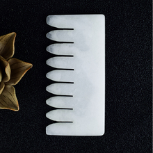 Natural White Jade Comb Shape gua sha Tool Hair Brush Scalp Massage Crystal Hair Care Head Acupuntura Massager Skin Health Care white agate petal dongling jade leaf crystal beads hair comb costume hanfu hair accessory hair comb for women