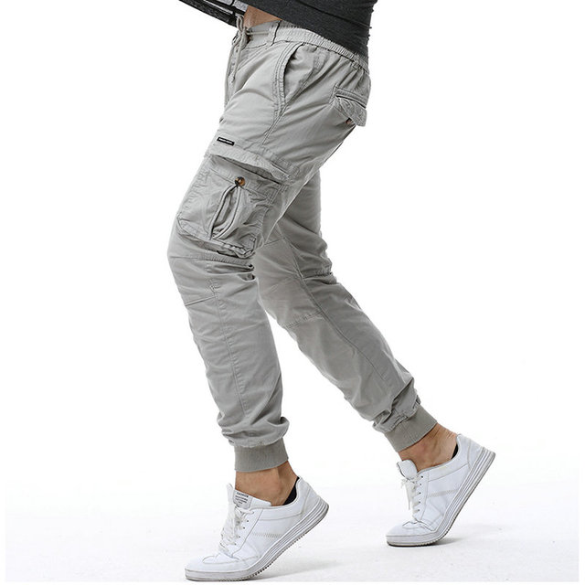 2018 Cotton Cargo Pants Men Ankle Banded Casual Slim Jogger Pants Men Pantalon Hombre