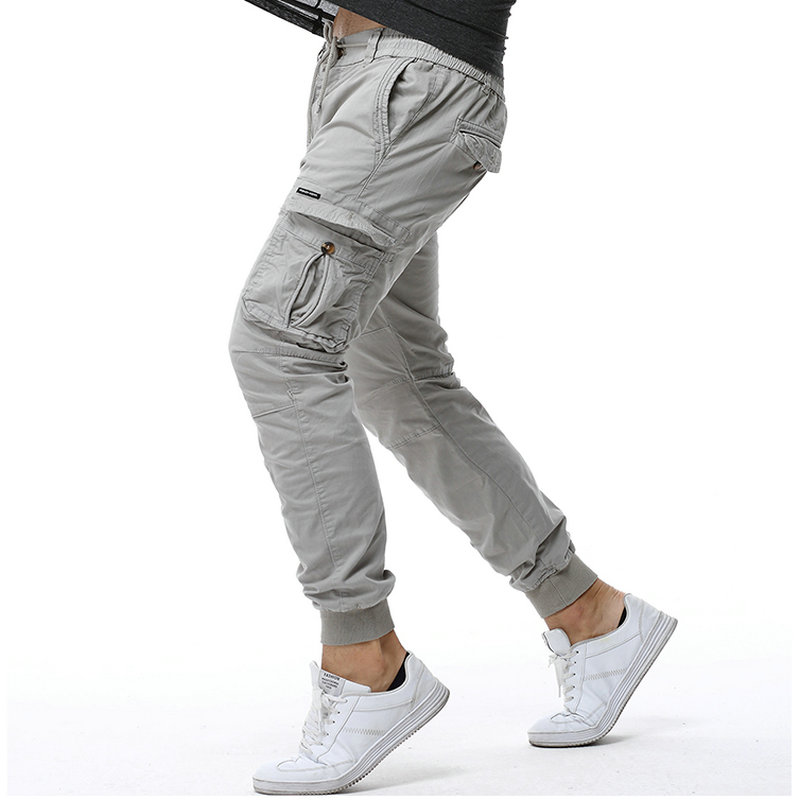 2020 Cotton Cargo Pants Men Ankle Banded Casual Slim Jogger Pants Men Pantalon Hombre