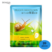 BIOAQUA 20 Pieces Snails Depth Replenishment Whole Liquid  Face Mask Oil Control Shrink Pores Unisex Skin Care