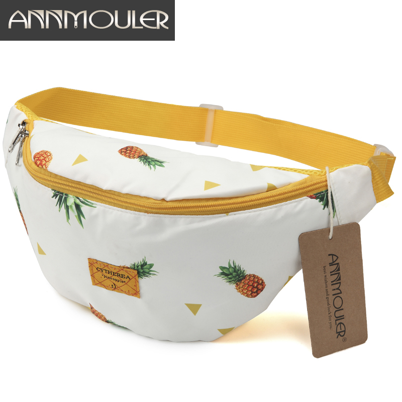 Annmouler Large Capacity Women Waist Packs Cotton Fabric Fanny Packs Pineapple Printed Chest Bag Zipper Phone Belt Bag Hip Bag