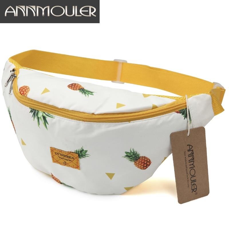 Annmouler Large Capacity Women Waist Packs Cotton Fabric Fanny Packs Pineapple Printed Chest Bag Zipper Phone Belt Bag Hip Bag