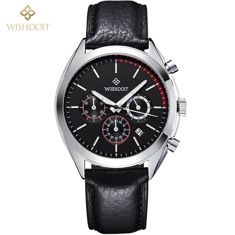 ФОТО Brand design luxury 2016 new Men's watches men quartz watch men sports Business real three dial waterproof 50M leather strap