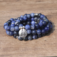 Mala Blue treadstone Bracelet Lotus OM Wrist Buddhist Buddha Yoga Blue Stone Beads Bracelets for Unisex Men Stone bracelet