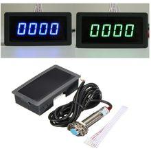 Medidor de velocidade led digital, tacômetro azul verde, medidor de velocidade rpm + hall, sensor de proximidade npn, 1/2 peças 12v dropshipping