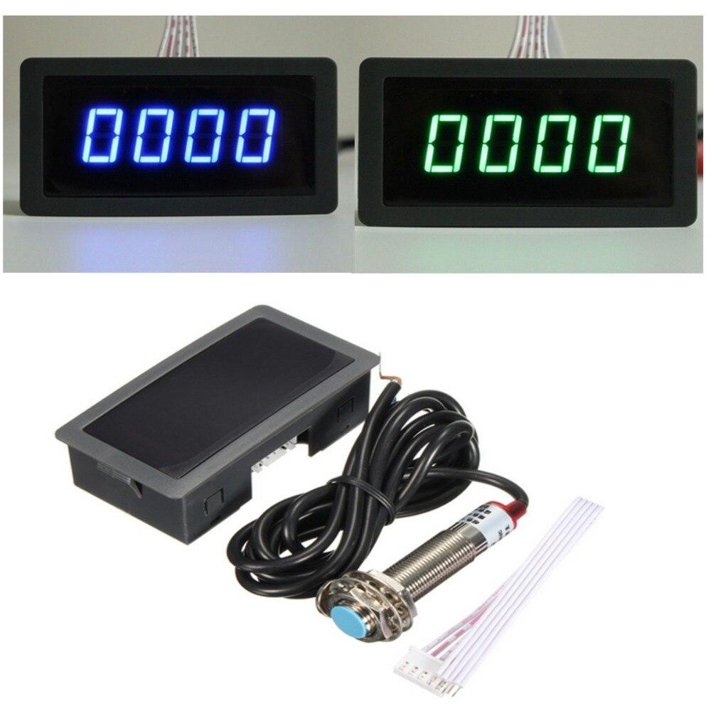 4 LED Digital azul verde tacómetro RPM medidor de velocidad + Sensor de interruptor de proximidad de pasillo NPN