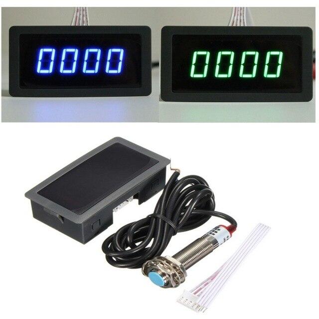 4 digitale LED Blauw Groen Toerenteller RPM Snelheid Meter + Hall Proximity Switch Sensor NPN