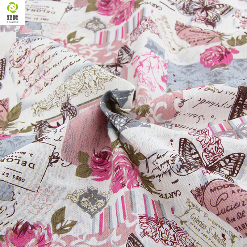 Specialtilbud Retro Butterfly Rose Linnedstoffer Bordduge kludpude pude linned stof 145 * 50cm A1-1-M1