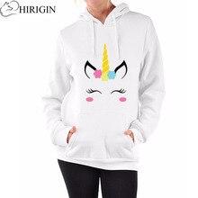 HIRIGIN 2017 Autumn Bts White Unicorn Hoodie Women Sweatshirt Casual Loose Hoode