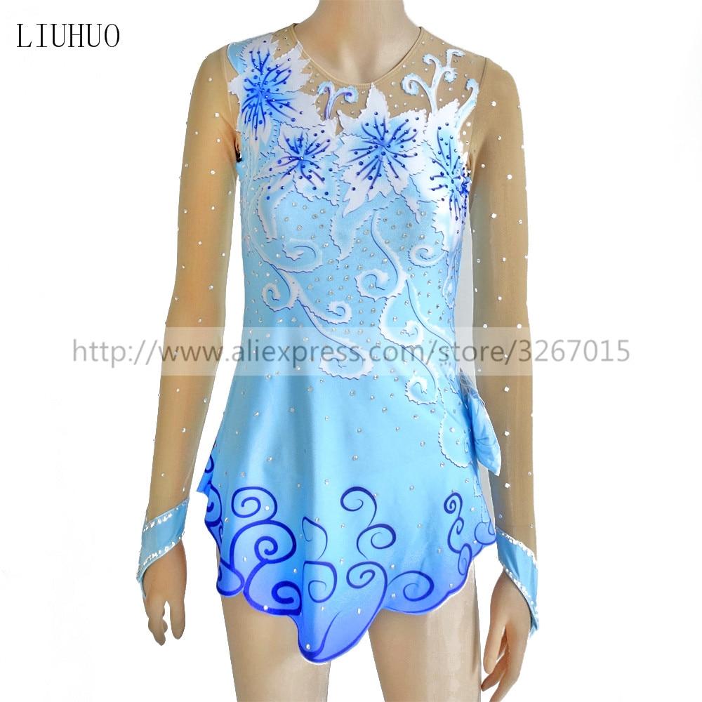 Figure Skating Dress Customized Competition Ice Skating Skirt for Girl Women Rhythmic Gymnastics blue Beautiful flower line