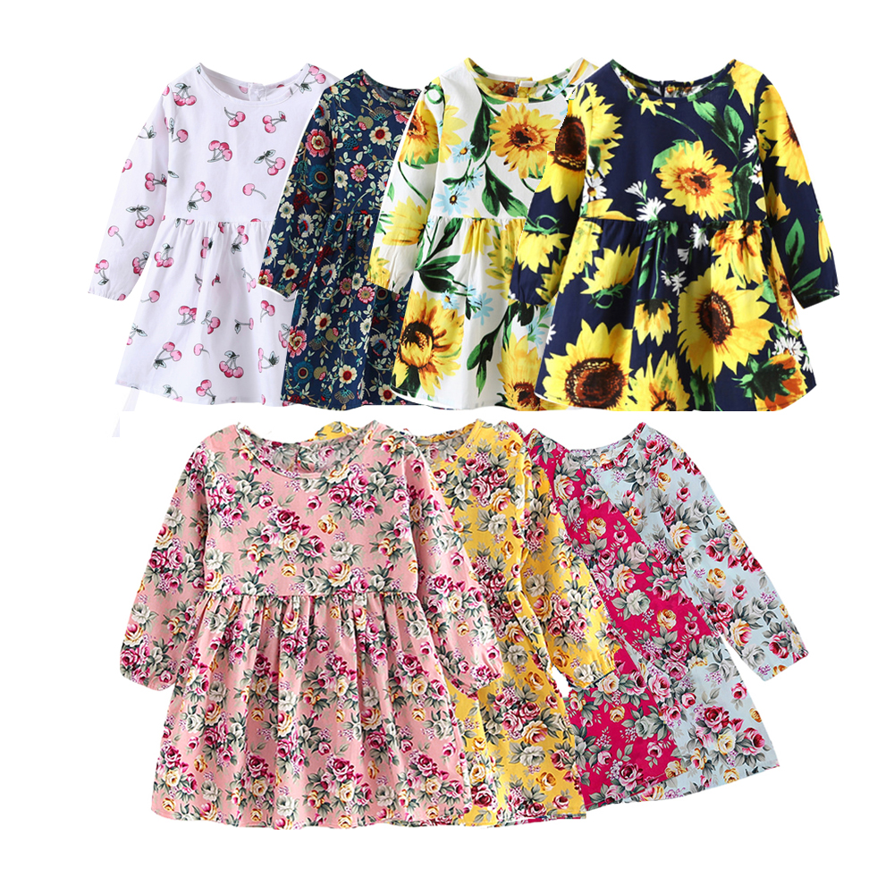 Summer Baby Kids Dresses Children Girls Long Sleeve Floral Princess Dress Spring Summer Dress Baby Girls Clothes dress for girl monsoon girls dresses summer baby girls clothes kids dresses lemon print princess dress girl party cotton children dress 26