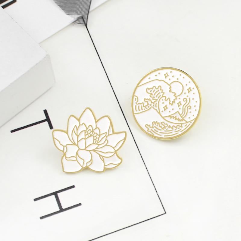 Badge Brooch Gifts Wave Plant Enamel-Pin Star-Moon-Ocean Round Japanese Neutral Coat