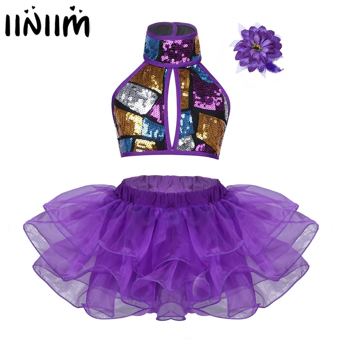 kids-girls-tutu-dance-costumes-ballroom-dancing-halter-shiny-sequins-crop-top-with-skirts-hair-clip-gymnastics-font-b-ballet-b-font-dancewear