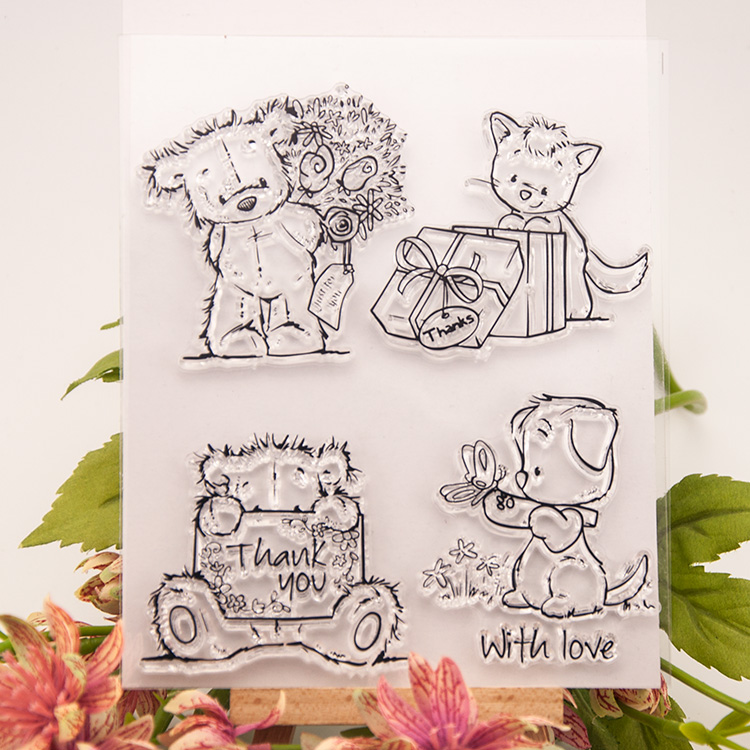 DIY Little lovely Bear Transparent Clear Rubber Stamp Seal Paper Craft Photo Album Diary Scrapbooking paper Card RZ-012 lovely bear and star design clear transparent stamp rubber stamp for diy scrapbooking paper card photo album decor rz 037