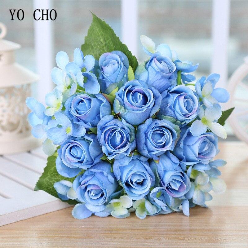 YO CHO Wedding Bouquet Silk Red Roses Hydrangea Artificial Flower Wedding Bouquet For Bridal Bridesmaid Mariage Wedding Supplies