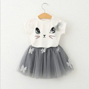 BibiCola Summer Girls Clothing Sets  Infant Cotton T-Shirts+Tulle Skirt Costumes Cartoon Bebe Birthday Sport clothing conjuntos casuales para niñas