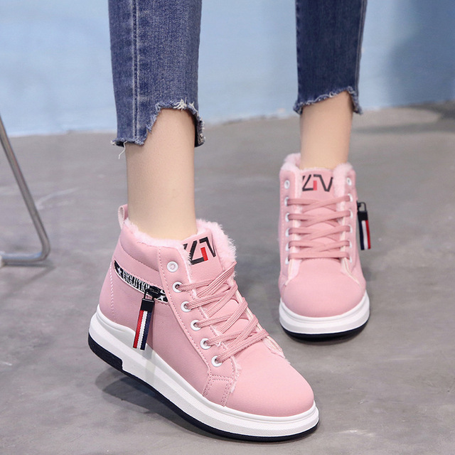 d3700bce53c9 2018 Fashion Korean Women Shoes Winter Warm Fur High Top Sneakers Women  Casual Shoes Platform Wedge Winter Sneakers Pink Woman