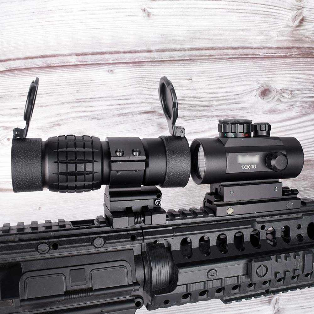 3X Vergrootglas Scope Compact Tactical Sight Flip met Holografische 1x30 Rood Groen Dot Sight Airsoft met Riser 20mm Mount Rail