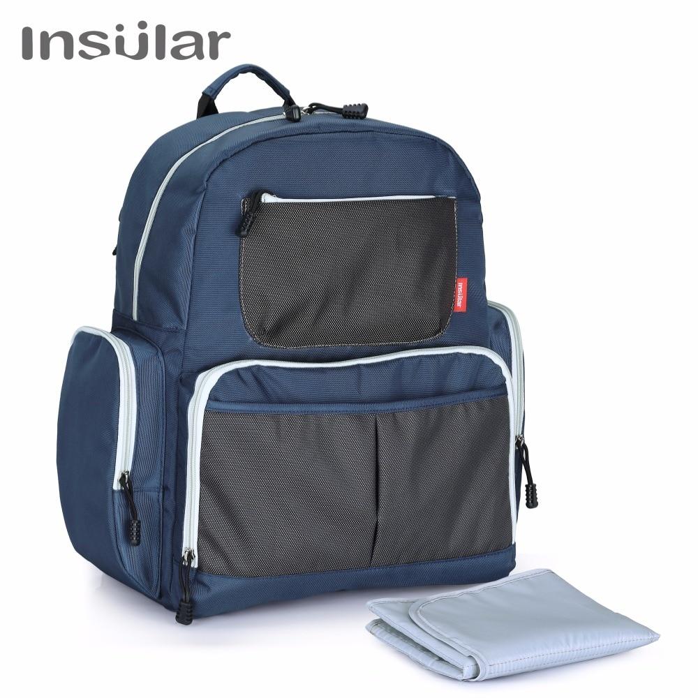 цена на INSULAR Brand Mother Maternity Diaper Nappy Bag Large Capacity Baby Diaper Stroller Backpack Travel Mommy Designer Nursing Bags