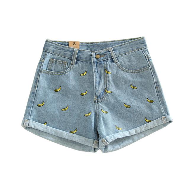 Verão originais Estrangeiros Retro Mulheres Shorts Jeans de Cintura Alta Shorts Jeans Casuais Banana Bordados Short Jeans