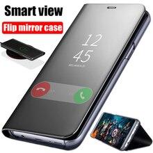 Espelho inteligente Do Caso Da Aleta Para Samsung Galaxy A10 A20 A30 A40 A50 A60 A70 A80 A90 A10E A20E A40S Caso clear View Flip Tampa Do Telefone