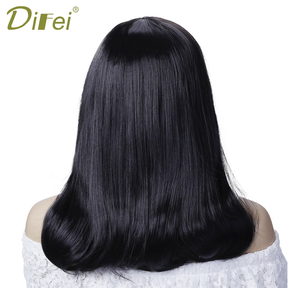 DIFEI Long Straight Hair Heat Resistant Synthetic Female Party Halloween Wig Extension Clip Hair