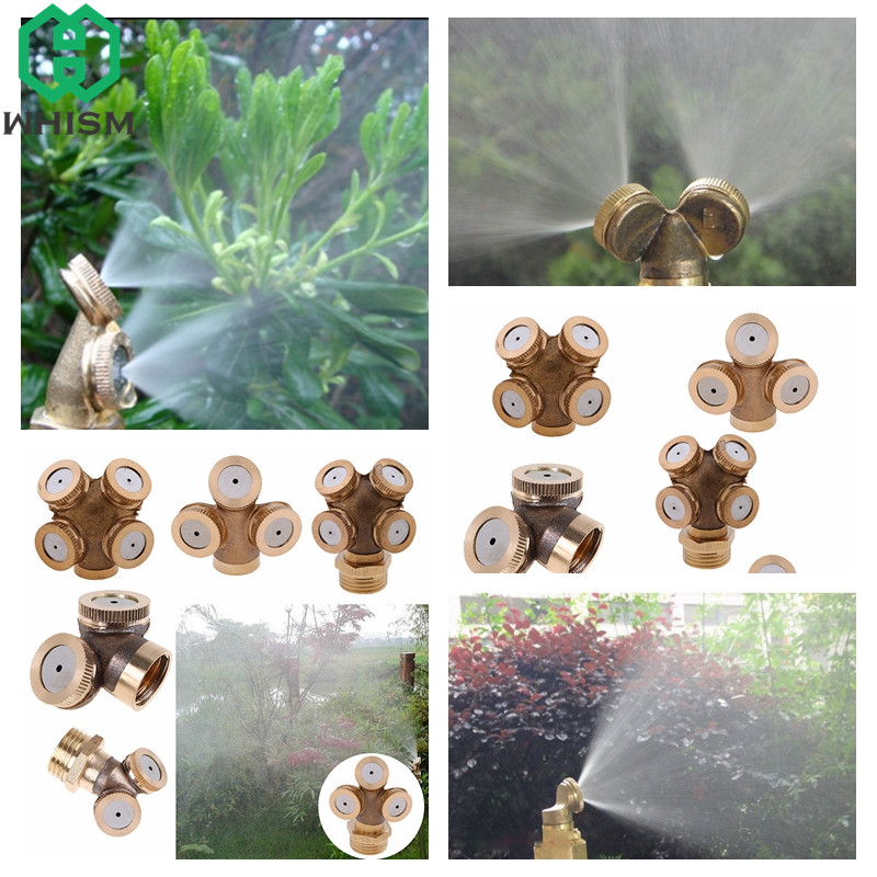 WHISM 2/3/4 Hole Brass Mist Spray Nozzle Agricultural Water Sprayer Nozzles Garden Sprinkler Lawn Misting Watering Irrigation